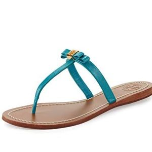 TORY BURCH Leighanne Aquarius blue patent sandals